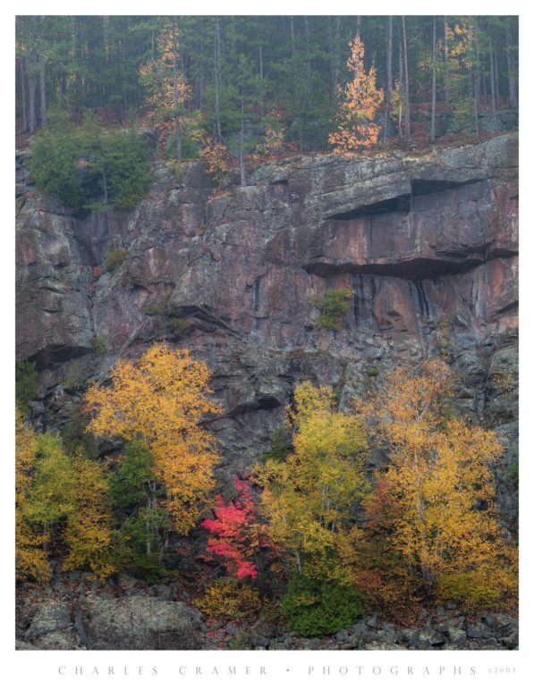 Cliffs, Autumn, Misty Morning, Algonquin Provincial Park, Canada