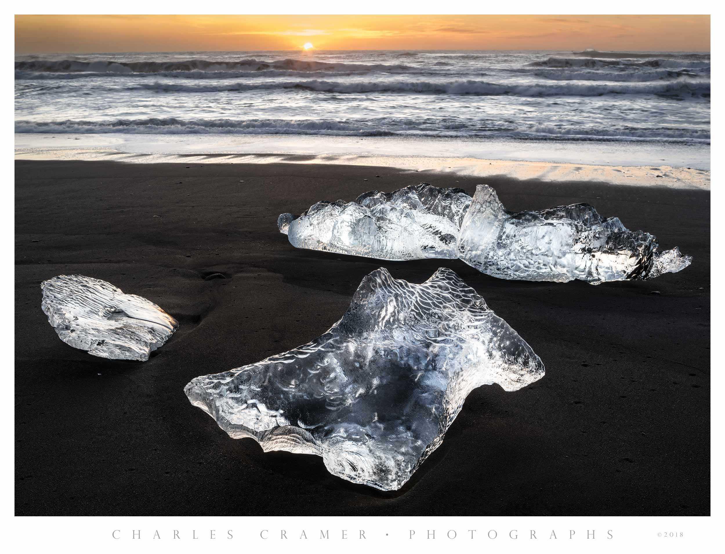 Backlit  Icebergs, Sunrise,  Iceland