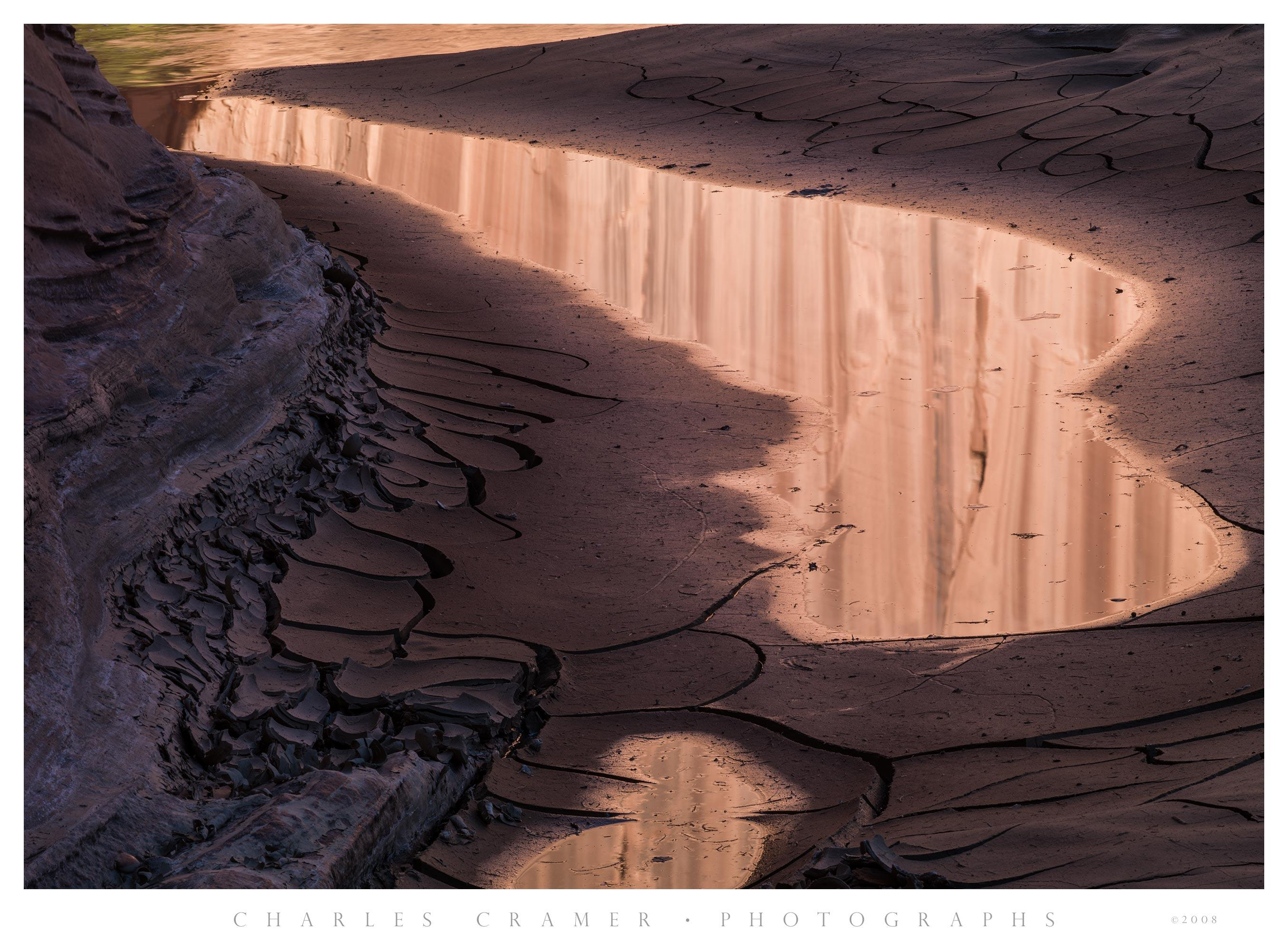 Dried Mud, Paria River, with Reflected Water-Stained Canyon Walls