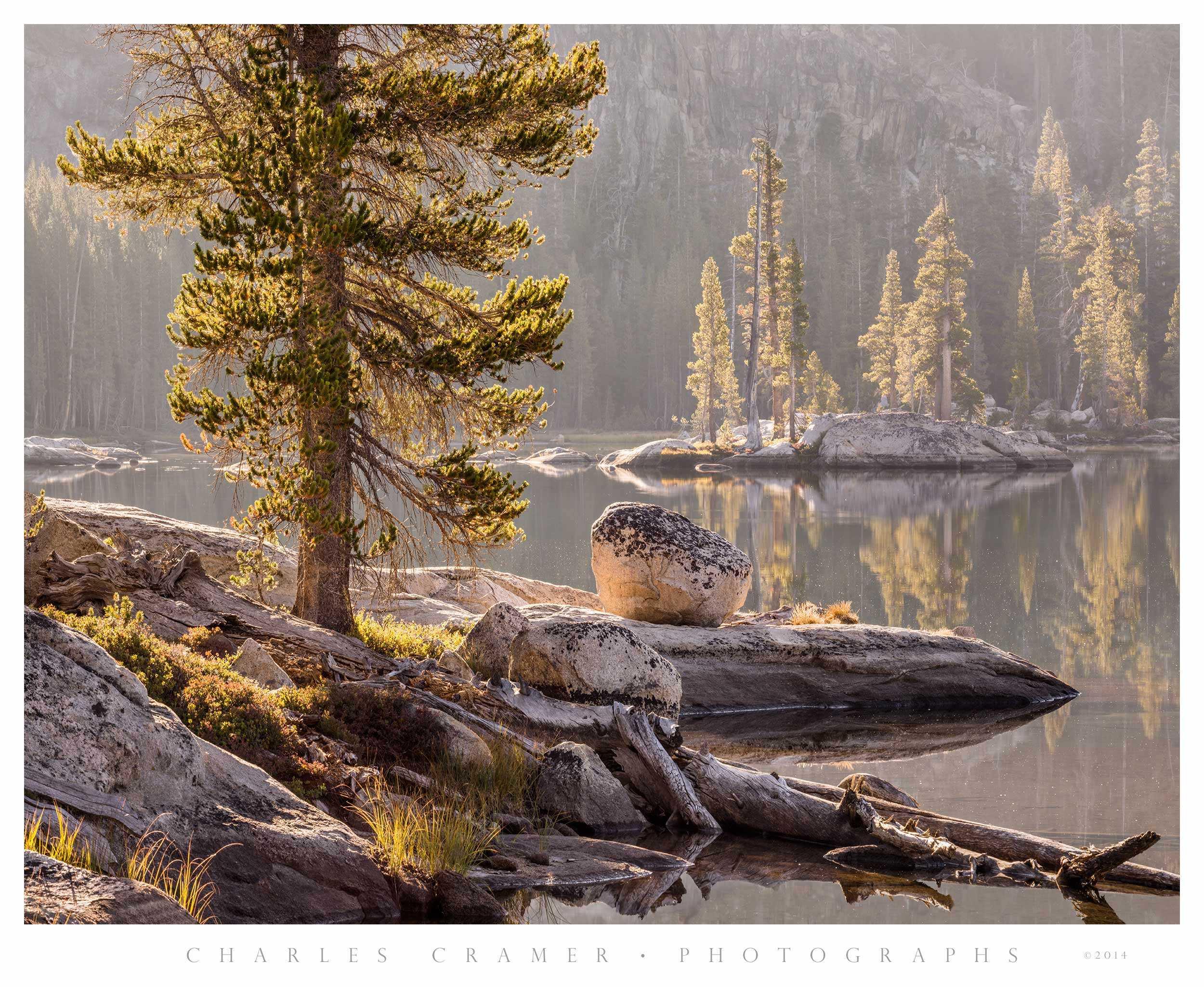 Morning Backlight, Alpine Lake, Yosemite